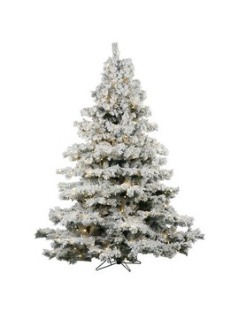 Vickerman 7.5ft Prelit Flocked Alaskan Pine Artificial Christmas Tree With 900 Clear Led Lights   Green by Vickerman