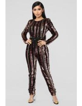 Modern Disco Sequin Jumpsuit   Black/Gold by Fashion Nova
