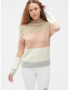 Stripe Mockneck Pullover Sweater In Wool Blend by Gap