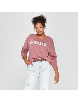 Women's Plus Size Blessed Graphic Sweatshirt   Zoe+Liv (Juniors') Burgundy by Zoe+Liv