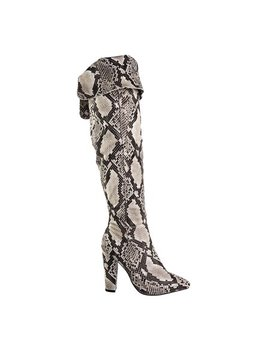 Madam37 By Bamboo, Faux Fur Lining Foldable Knee High Block High Heel Boot, Snakeskin by Bamboo