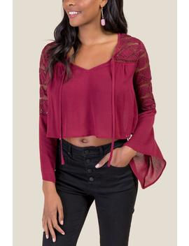 Thea Lace Statement Sleeve Crop Top by Francesca's