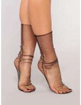 Pearl Mesh Socks   Black by Fashion Nova