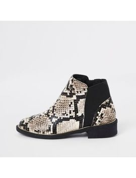 Girls Brown Snake Skin Chelsea Boots by River Island