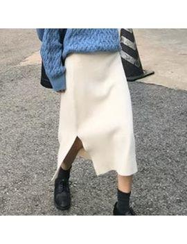 Gwisin   A Line Midi Knit Skirt by Gwisin