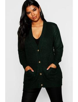 Plus Button Through Cardigan Rib Detail Pocket by Boohoo