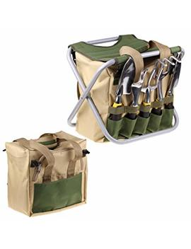Iswees 7 Piece Garden Tools Set   5 Ergonomic Gardening Steel Tools,Includes Cultivator,Trowel,Weeder,Weeding Fork,Transplanter,Folding Stool And Detachable Tool Bag by Iswees