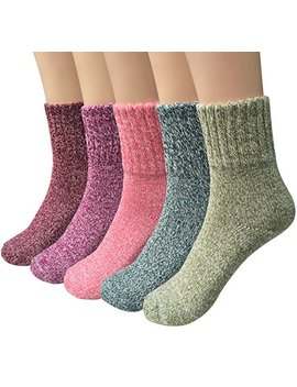 Womens 5 Pairs Vintage Style Winter Warm Thick Knit Wool Cozy Crew Socks by Loritta