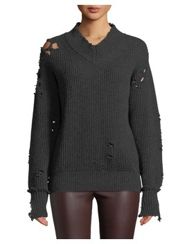 Distressed V Neck Wool Pullover Sweater by Helmut Lang