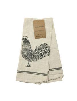Rooster Tea Towels Set 2 Cotton Linen Studio Kitchen Farmhouse Quick Dry by Studio Kitchen