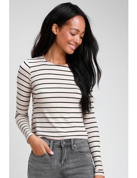 Sydnee Black And Taupe Striped Long Sleeve Top by Lulus Basics