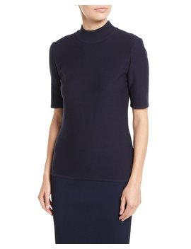 Birdseye Luxe Sculpture Knit Top by St. John Collection