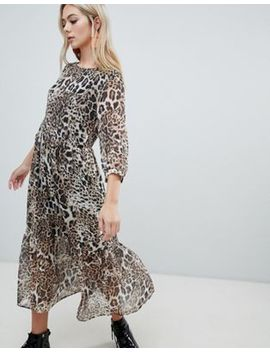 Soaked In Luxury Leopard Layered Midi Dress by Dress