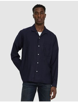 Wool Rayon Blend Shirt In Navy by Gitman Brothers Vintage