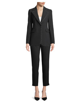 One Button Stretch Jersey Blazer W/ Beaded Ribbon Trim by Emporio Armani