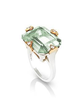 Prasiolite Cocktail Ring With Diamonds by Maniamania