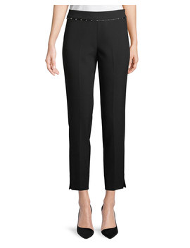 Stretch Jersey Straight Leg Crop Pants W/ Beaded Ribbon Trim by Emporio Armani