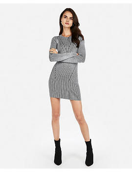 Solid Fitted Ribbed Sweater Dress by Express