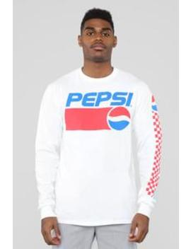 90's Pepsi Logo Long Sleeve Tee   White by Fashion Nova