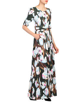 Jolie Moi Floral Print Half Sleeve Maxi Dress, Dark Green/Multi by Jolie Moi
