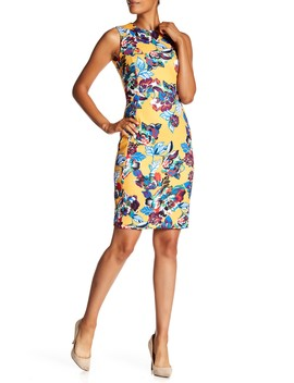 Tropical Floral Sheath Dress by Modern American Designer
