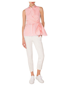 Sleeveless Kent Collar Wrap Detail Striped Shirt by Akris Punto