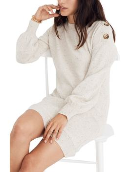 Boat Neck Button Shoulder Sweater Dress by Madewell