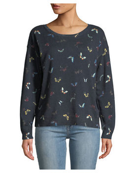 Eloisa Butterfly Print Pullover Sweater by Joie