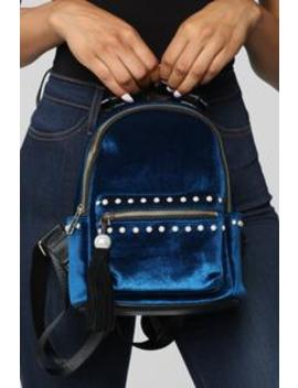 One Way Or Another Velvet Backpack   Royal by Fashion Nova