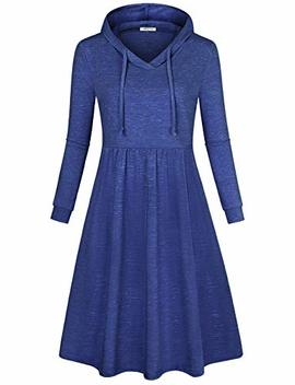 Se Se Code Women's Long Sleeve Pleated Swing Midi Casual Dress With Hooded by Se Se Code