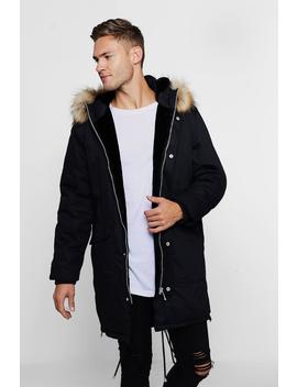 Parka With Contrast Faux Fur Trim Hood by Boohoo