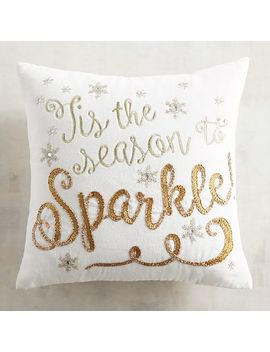 Beaded 'tis The Season To Sparkle Pillow by Pier1 Imports
