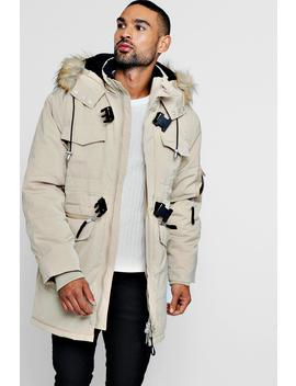 Faux Fur Trimmed Hood Double Buckle Parka by Boohoo