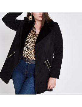 Plus Black Faux Fur Lined Fallaway Jacket by River Island