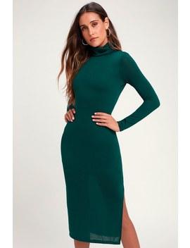 Crescio Teal Green Turtleneck Midi Sweater Dress by Lulus