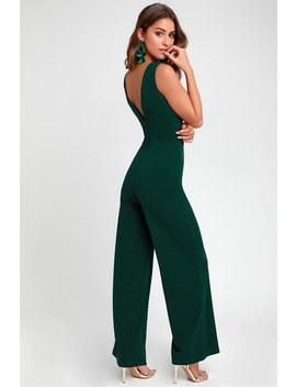 Ready For It Hunter Green Sleeveless Wide Leg Jumpsuit by Lulus