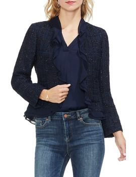 Ruffle Trim Tweed Jacket by Vince Camuto