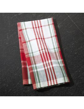 Red And Green Plaid Dish Towel by Crate&Barrel
