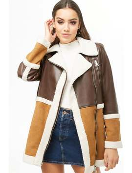 Faux Shearling & Faux Leather Moto Jacket by Forever 21