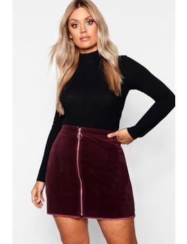 Plus O Ring Zip Cord Mini Skirt by Boohoo