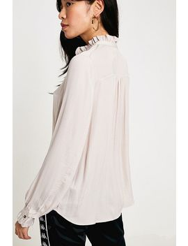 Uo Madelyn Satin Ruffle Collar Button Through Blouse by Urban Outfitters