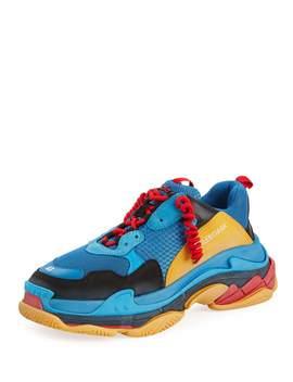 Men's Triple S Mesh & Leather Sneakers, Blue/Orange by Balenciaga