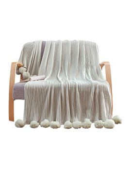 """Liferevo 100 Percents Cotton Hypoallergenic Striped Cable Knitted Throw Blanket Pompoms Fringe Solid   Grey / 39""""X59"""" by Liferevo"""