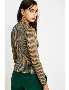 Uo Presley Glitter Stripe Long Sleeve Shirt by Urban Outfitters