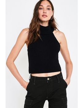 Uo Jenna Black Sleeveless Turtleneck Jumper by Urban Outfitters