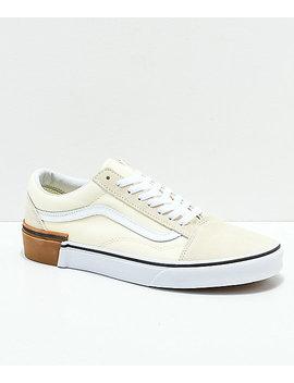 Vans Old Skool Gum Block White Skate Shoes by Vans