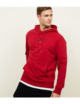 Red Paris Embroidered Hoodie by New Look
