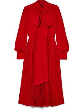 Pussy Bow Pleated Silk Crepe De Chine Dress by Valentino