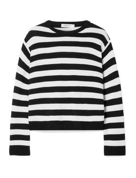 Wrap Effect Bow Embellished Striped Cashmere Sweater by Valentino