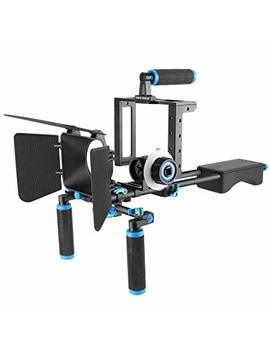 Neewer Aluminum Alloy Film Movie Rig System Kit For Canon Nikon Sony And Other Dslr Cameras,Includes:(1)Video Cage,(1)Top Handle Grip,(2)15mm Rod,(1)Matte Box,(1)Follow Focus,(1)Shoulder Rig (Blue) by Neewer